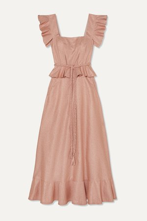 Blush Goldie ruffled metallic crepe maxi dress | Anna Mason | NET-A-PORTER