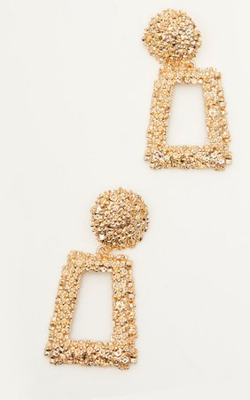 Gold Chunky Textured Square Earrings