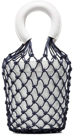 White and Blue Moreau Macrame Leather Bucket Bag