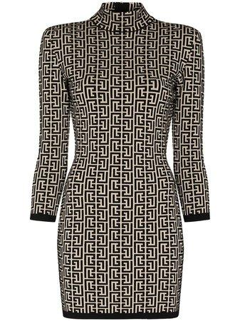 Balmain monogram-jacquard Knitted Mini Dress - Farfetch