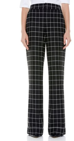 Dylan Check Cuffed Wide Leg Trousers