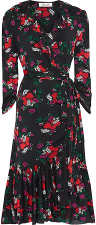 Paloma Ruffled Printed Stretch-mesh Midi Wrap Dress