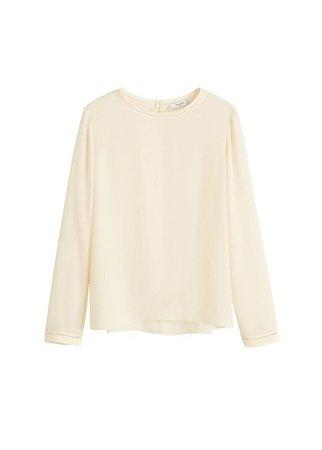 MANGO Openwork trim blouse