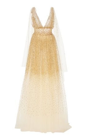 Oscar de la Renta Crystal-Embellished Cut-Out Tulle Gown