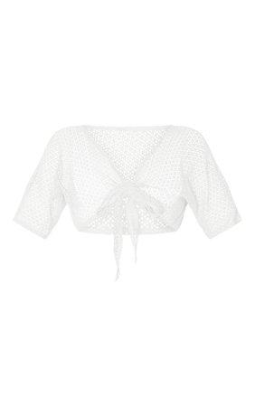 Sage Green Crochet Tie Front Beach Top | PrettyLittleThing USA