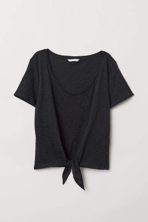 T-shirt with Tie Detail - Black