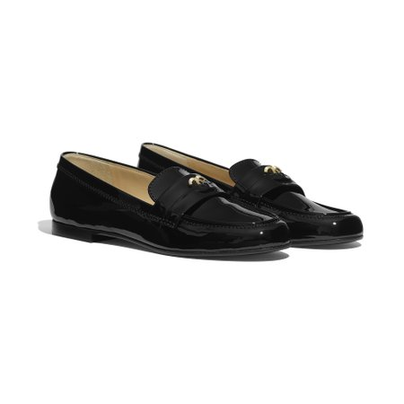 Patent Calfskin Black Loafers | CHANEL