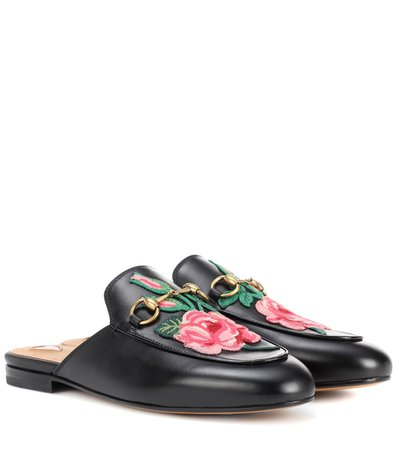 Gucci, Princetown Leather Slippers Loafers With Embroidered Appliqué