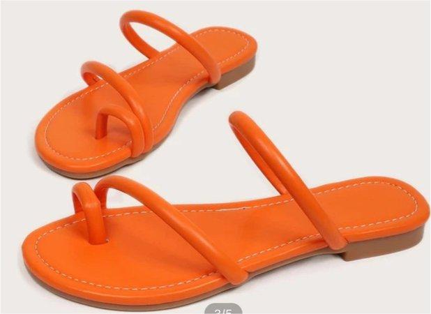 minimalist thong sandal orange