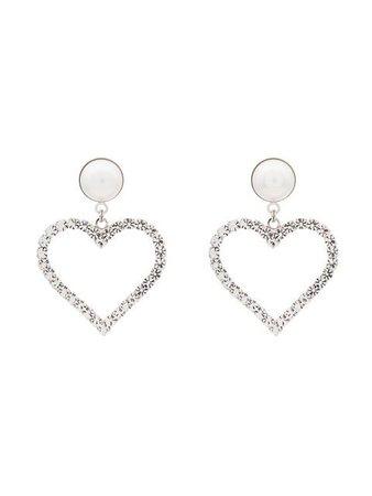 ALESSANDRA RICH crystal pearl embellished heart earrings