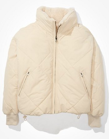 AE Reversible Quilted Puffer Jacket cream