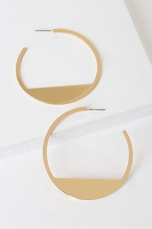 Cute Gold Earrings - Hoop Earrings - Geometric Hoops
