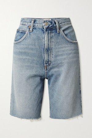 Pinch Distressed Organic Denim Shorts - Blue