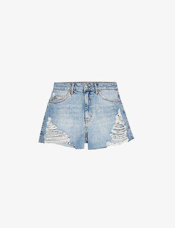 TOPSHOP - Ripped mom denim shorts | Selfridges.com
