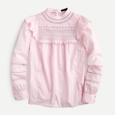 J.Crew: Crocheted Lace Ruffle Top pink