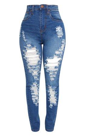 Shape Light Wash Distressed Skinny Jeans | PrettyLittleThing USA