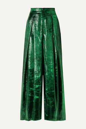 Dark green Metallic velvet wide-leg pants | PatBO | NET-A-PORTER