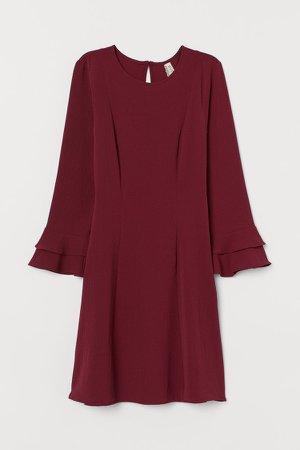 Flounce-sleeved Dress - Red