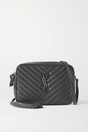 Lou Quilted Leather Shoulder Bag - Dark gray