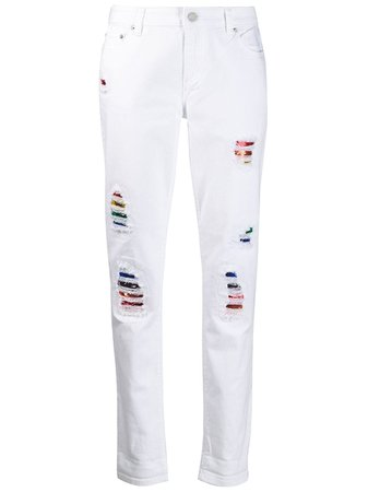 White Michael Michael Kors Rainbow Distressed Jeans   Farfetch.com