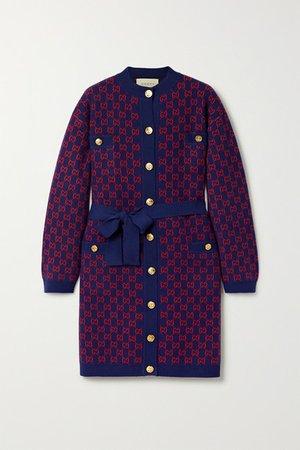 Gucci | Belted wool-jacquard cardigan | NET-A-PORTER.COM