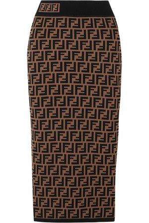 Fendi | Jacquard-knit midi skirt | NET-A-PORTER.COM
