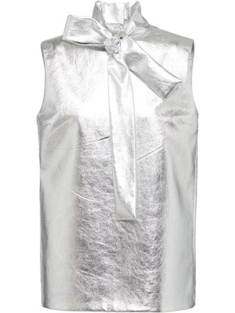 Prada Metallic Leather Blouse - Farfetch