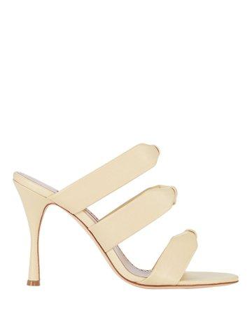 Manolo Blahnik Gyrica Leather Slide Sandals   INTERMIX®
