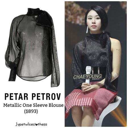 "Twice's Fashion on Instagram: ""CHAEYOUNG FEEL SPECIAL SHOWCASE PETAR PETROV- Metallic One Shoulder Blouse ($893) #twicefashion #twicestyle #twice #nayeon #jeongyeon…"""