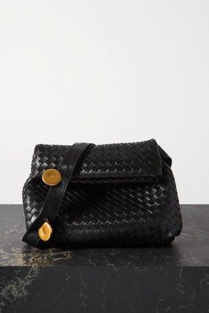 Messenger Embellished Intrecciato Leather Shoulder Bag - Black