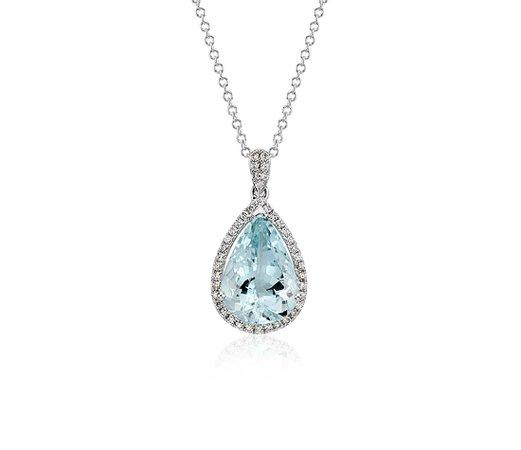 Aquamarine and Diamond Halo Pendant in 14k White Gold (13x9mm)   Blue Nile