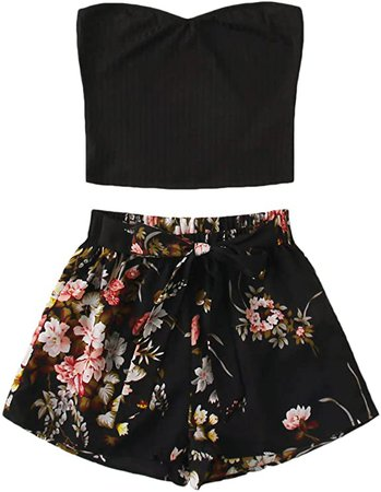 Floerns Women's 2 Piece Outfit Summer Plain Tube Crop Top with Floral Shorts Sets