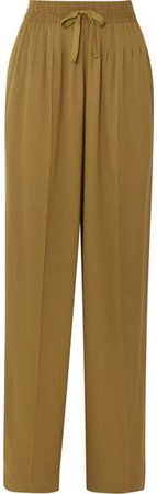 Pleated Cady Wide-leg Pants - Gold