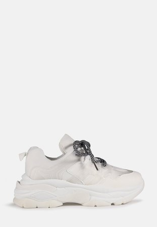 White Chunky Clear Detail Sneakers   Missguided