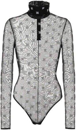 Fendi - Embroidered tulle bodysuit