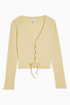 Yellow Ribbed Tie Front Cardigan   Topshop