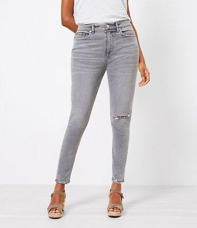 The Curvy Chewed Hem High Waist Skinny Jean in Silver Grey