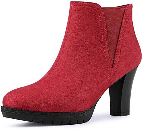 Amazon.com | Allegra K Women's Round Toe Block Heels Chelsea Ankle Boots | Ankle & Bootie