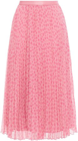 Pleated Printed Goergette Midi Skirt