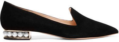 Casati Embellished Suede Loafers - Black