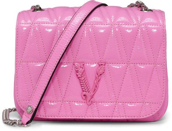 Versace Virtus Matelasse Patent Leather Shoulder Bag