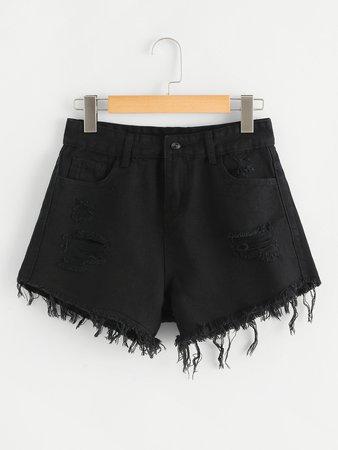 Frayed Hem Ripped Denim Shorts