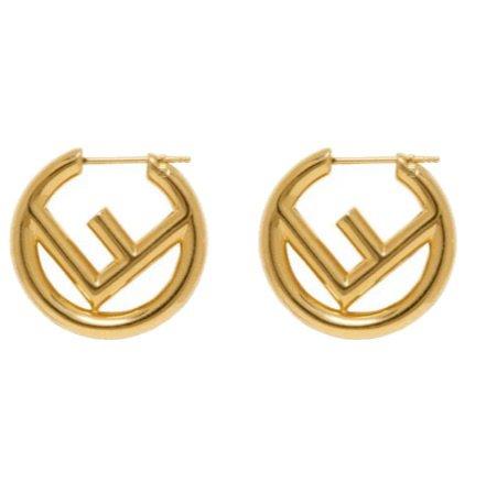 gold fendi earrings