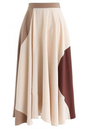 Multicolor Asymmetric A-Line Midi Skirt - Skirt - BOTTOMS - Retro, Indie and Unique Fashion