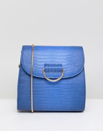 London Rebel | London Rebel Blue Snake Print Across Body Bag with Gold Buckle Detail