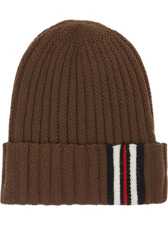 Burberry Icon Stripe Detail Rib Knit Wool Beanie Ss20   Farfetch.com