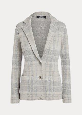 Plaid Wool-Blend Blazer