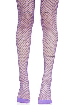 Bright Purple Fishnet Tights | Dolls Kill