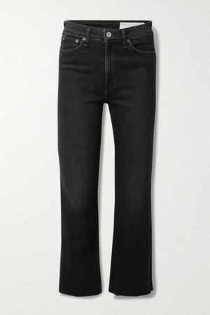 Nina Cropped High-rise Flared Jeans - Black