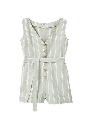 MANGO Bow linen jumpsuit